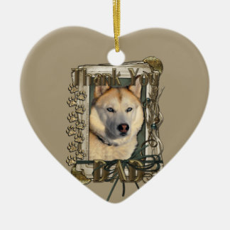 Thank You - Stone Paws - Siberian Husky Copper Dad Christmas Tree Ornament