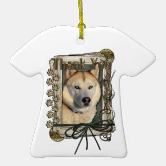 Thank You - Stone Paws - Siberian Husky - Copper Ornament