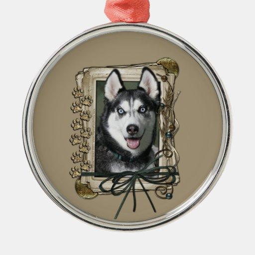 Thank You - Stone Paws - Siberian Husky Round Metal Christmas Ornament