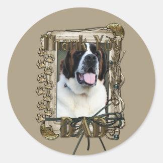 Thank You - Stone Paws - St Bernard - Mae - Dad Round Sticker