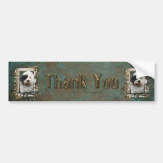 Thank You - Stone Paws - Tibetan Terrier Bumper Sticker