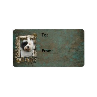 Thank You - Stone Paws - Tibetan Terrier - Dad Personalized Address Label