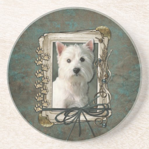Thank You - Stone Paws - West Highland Terrier Drink Coaster