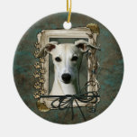 Thank You - Stone Paws - Whippet Double-Sided Ceramic Round Christmas Ornament