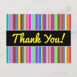 "[ Thumbnail: ""Thank You!"" + Stripes of Various Colors Postcard ]"