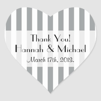 Thank You - Stripes (Parallel Lines) - Gray White Heart Sticker