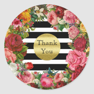Thank You Stripes Roses Flowers Gold Glitter Trend Classic Round Sticker