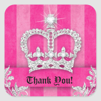 Thank You Stripes Sticker Jewelry Pink Crown