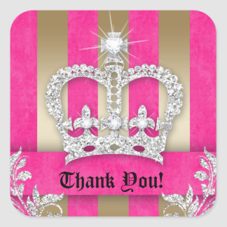 Thank You Stripes Sticker Jewelry Pink Crown Gold