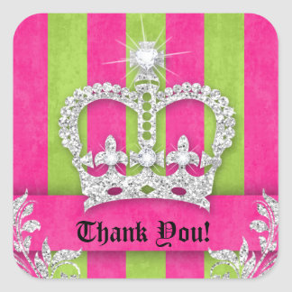 Thank You Stripes Sticker Jewelry Pink Crown Lime