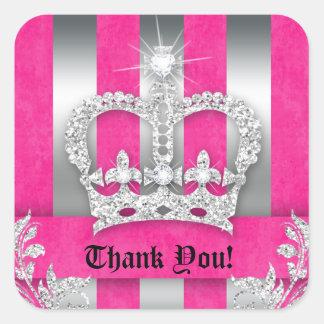 Thank You Stripes Sticker Jewelry Pink Crown Silve