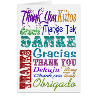 Thank you Subway Art in many languages Greeting Card