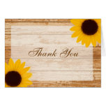 Thank You Sunflower Rustic Barn Wood Bridal Shower Cards