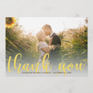 Thank you sunflower rustic wedding photo