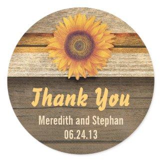 thank you sunflower wedding stickers