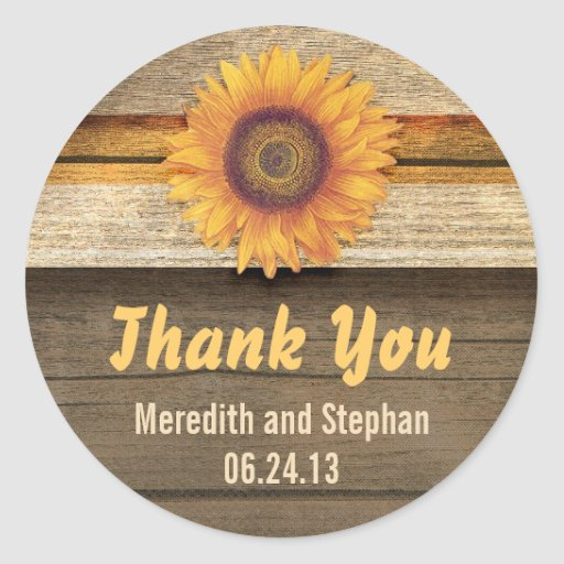 thank you sunflower wedding stickers
