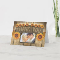 thank you sunflower & wood photo wedding cards