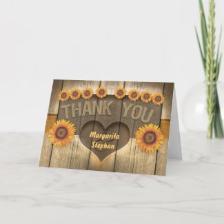 thank you sunflowers & wood wedding cards