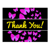 """Thank You!""   Swarm of Artistic Butterflies Postcard"
