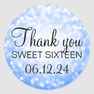 Thank You Sweet 16 Birthday Blue Glitter Lights Classic Round Sticker