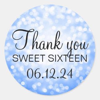 Thank You Sweet 16 Birthday Blue Glitter Lights Round Sticker