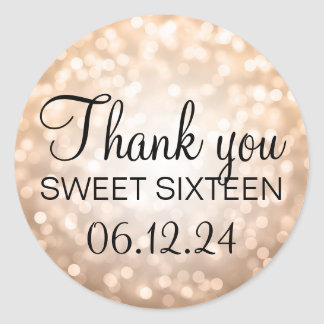 Thank You Sweet 16 Birthday Copper Glitter Lights Classic Round Sticker