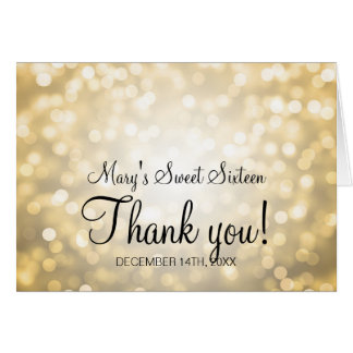 Thank You Sweet 16 Birthday Gold Glitter Lights Card