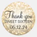 Thank You Sweet 16 Birthday Gold Glitter Lights Classic Round Sticker