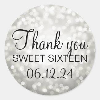 Thank You Sweet 16 Birthday Silver Glitter Lights Classic Round Sticker