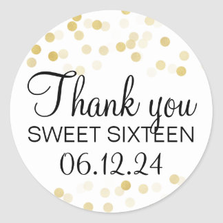 Thank You Sweet 16 Faux Gold Foil Glitter Lights Classic Round Sticker