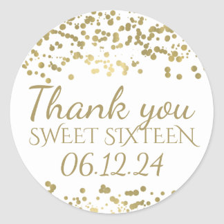 Thank You Sweet 16 Gold Foil Confetti Classic Round Sticker