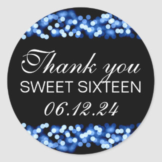 Thank You Sweet 16 Hollywood Glam Blue Classic Round Sticker