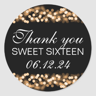 Thank You Sweet 16 Hollywood Glam Gold Classic Round Sticker