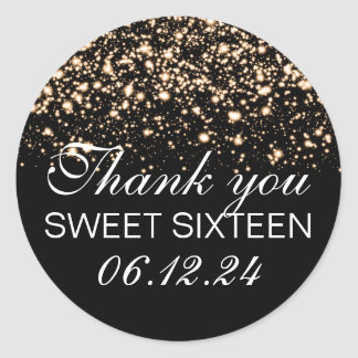 Thank You Sweet 16 Midnight Glam Gold Classic Round Sticker