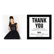 Thank You Sweet 16 Photo Card Modern Black & White