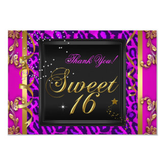 Thank You Sweet 16 Purple Pink Gold Leopard Party Card