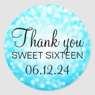 Thank You Sweet 16 Turquoise Glitter Lights Classic Round Sticker