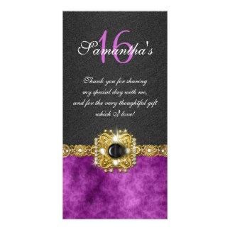 """thank you"" ""sweet sixteen"" purple black gems card"
