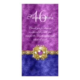 """""""thank you"""" """"sweet sixteen"""" purple blue gems card"""