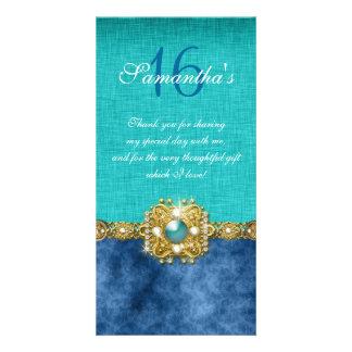 """thank you"" ""sweet sixteen"" teal blue gems photo card"