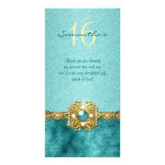 """thank you"" ""sweet sixteen"" teal gold gems photo card"