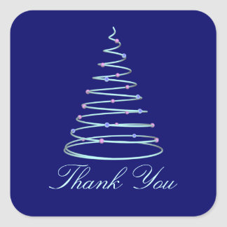 """Thank You"" - Swirled Christmas Tree Square Sticker"