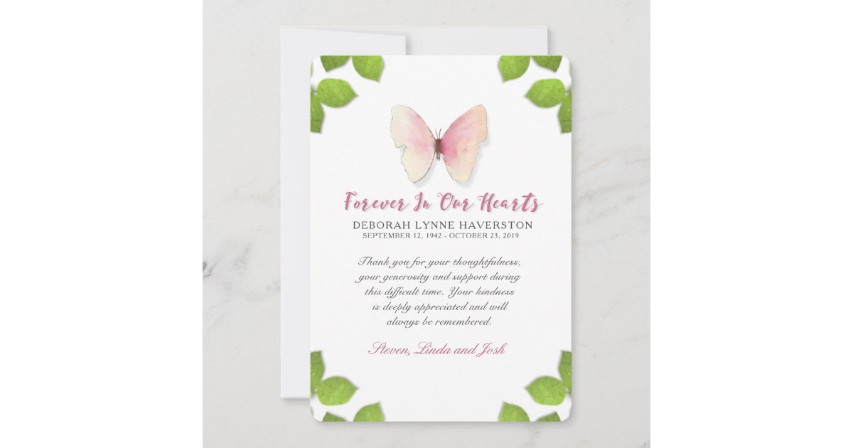 Thank You Sympathy Butterfly Memorial Card | Zazzle com