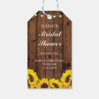 Thank you Tag Favour Sunflower Wood Bridal Shower