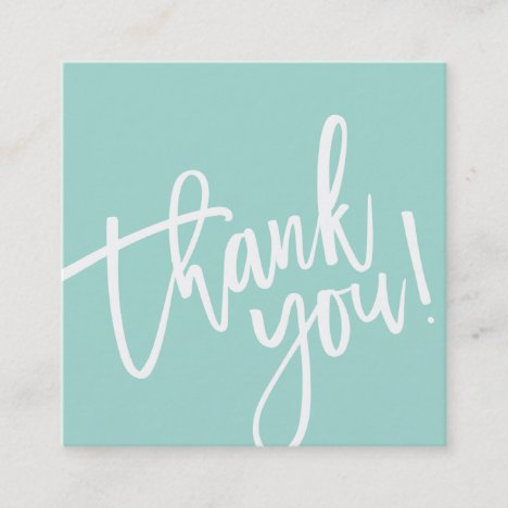 THANK YOU TAG mint green white brush lettered type