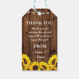 Thank you Tag Sunflowers Favour Tags Wood Wedding