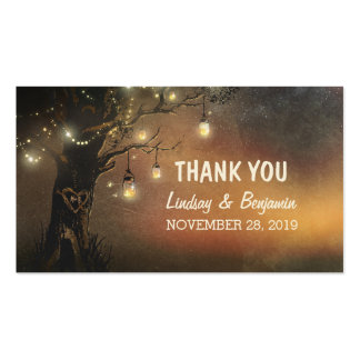 thank you tag with string lights mason jar tree Double-Sided standard business cards (Pack of 100)