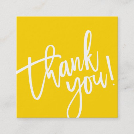 THANK YOU TAG yellow white brush lettered type