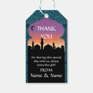 Thank you Tags Arabian Nights Print Teal Wedding