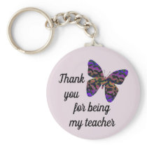Thank You Teacher Appreciation Colorful Butterfly Keychain